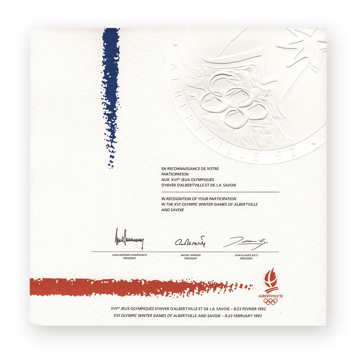 Olympisches Teilnehmer-Diplom | XVI. Olympische Winterspiele 1992, Albertville